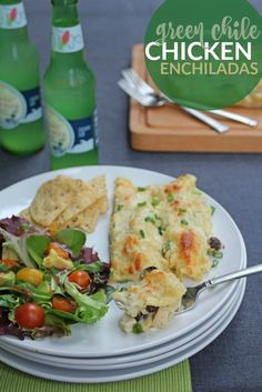 Easy Green Chile Chicken Enchiladas -- This simple recipe uses ...