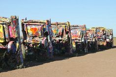 The famous Cadillac Ranch in TX.
