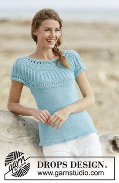 Knitted DROPS top with round yoke,in stocking st, garter st with lace pattern, worked top down in Paris. Free knitting pattern by DROPS Design. Knitting Patterns Free, Free Knitting, Crochet Patterns, Knitting Videos, Drops Design, Crochet Shirt, Knit Crochet, Point Mousse, Summer Knitting