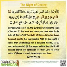 The blessed Laylatul Qadr (Night of Decree) can be found in any of the last 10 nights of Ramadan, which are the most blessed nights of the year. As such, we should increase our worship and devotion. Ramadan 2016, Ramadan Day, Shab E Qadar, Laylat Al Qadr, Blessed Night, Hadith Of The Day, Peace Be Upon Him, Islamic Quotes, Islamic Art