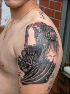 Black angel devil tattoo design on shoulder. Find and save ideas about Black angel devil tattoo design on shoulder on Tattoos Book. More than FREE TATTOOS Front Shoulder Tattoos, Flower Tattoo Shoulder, Angel Devil Tattoo, Angel And Devil, Stylish Tattoo, Black Angels, Picture Tattoos, Tattoo Inspiration, Tattoo Designs