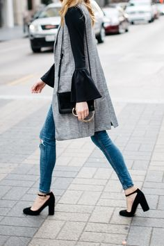 Fall Outfit, Winter Outfit, Long Grey Vest, Black Bell Sleeve Top, Chloe Faye Handbag, Denim Ripped Skinny Jeans, Black Ankle Strap Pumps