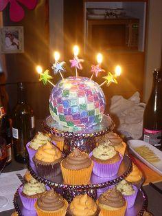 Disco Ball Cake a'glow by cupcaketastic, via Flickr