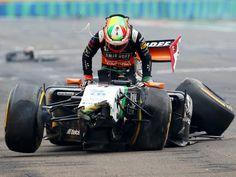 Sergio Perez crashes out