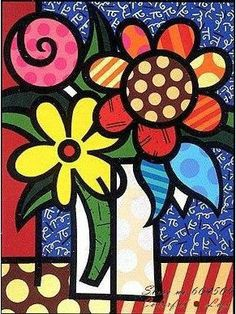 Vase of Flowers pop-art by Romero Britto Pop Art, Arte Elemental, Graffiti Painting, Graffiti Art, Ecole Art, Arte Popular, Naive Art, Art Plastique, Teaching Art