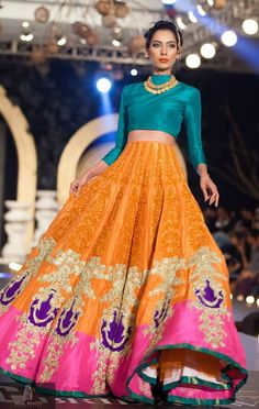 Love the colors #lehenga #orange #pink #blue #wedmegood