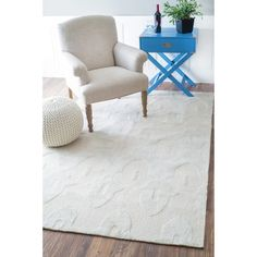nuLOOM Hand-hooked Light Grey Wool Rug (3'6 x 5'6)