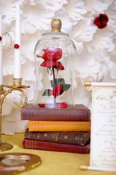 A 'Beauty and the Beast' themed centerpiece