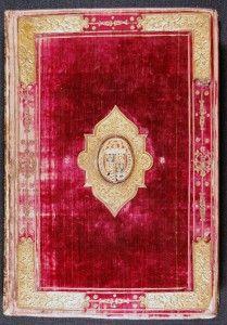 Velvet bound Greek Testament given to Elizabeth I in 1558 by Cambridge University; it was printed in Paris.