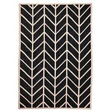 Feather Rug – Black/Flax