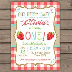 Strawberry Birthday Invitation Sunshine by Anietillustration