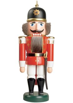 German nutcracker soldier red, height 37 cm / 15 inch, original Erzgebirge by Seiffener Volkskunst
