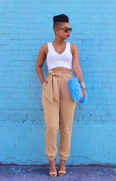 Black girl fashion - She Recycles Fashion Tan Trousers + Baby Blue Clutch blue striped dress summer outfits blue summer dress outfit light blue summer dress outfit navy blue summer dress outfit summer outfits baby Mode Outfits, Chic Outfits, Summer Outfits, Fashion Outfits, Womens Fashion, Dress Summer, Day To Night Outfit Summer, Black Girls Outfits, White Outfits For Women