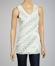 Look what I found on #zulily! Taupe & Off-White Laced V-Neck Sleeveless Top by Mystree #zulilyfinds