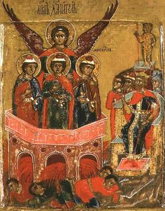 The artwork Russian icon depicting Shadrach, Meshach and Abednego in the Fiery Furnace - Moscow school we deliver as art print on canvas, poster, plate or finest hand made paper. Religious Icons, Religious Art, Fire Bible, Fiery Furnace, Black Jesus, Russian Icons, Black Love Art, Bible Verse Art, Byzantine Art