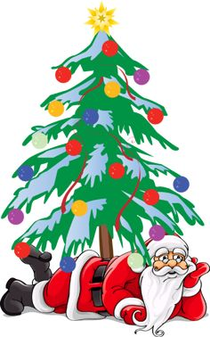 Christmas Clip Art featuring Santa Claus. You will find all kinds of Santas... old fashioned, contemporary, comical and of course the traditional picture of St. Nick.: Santa Under The Christmas Tree