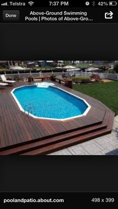 Decking idea, the idea of having the deck wrap the pool is kinda how I'd do it. Although the permits for building above ground are more ridiculous! I'd still do it!