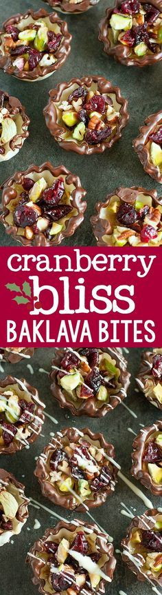 Dipped and drizzled in chocolate, these Cranberry Bliss Baklava Bites are easy to make and even easier to devour! This pint-sized no-bake treat is perfect for the holidays!