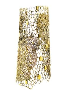 AYAKA_NISHI (New York, United States):  Cell Cuff, Thai gold (brass alloy) and 15 pieced champagne cognac set diamonds