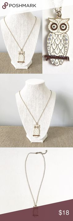 Gold owl necklace Long gold tone enamel owl necklace Jewelry Necklaces