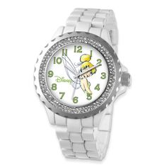 Versil Disney Women's Crystal Bezel Mickey Mouse Watch (white band) - Size: One Size Fits All (Stainless Steel) Mickey Mouse Watch, Minnie Mouse, Thing 1, Disney Jewelry, Disney Girls, Disney Mickey, Disney Magic, White Enamel, Fashion Bracelets