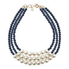 Classic Caroline Necklace Pearl & Navy Blue