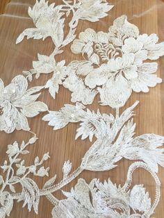 Exquisite Baumwolle Spitze Applikationen Creme Hochzeit