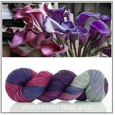 Beautiful new Merino Yak Silk fingering yarn in Calla Lily colourway.