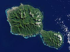 Tahití, Polinesia Francesa, desde satélite - Tahiti, French Polynesia
