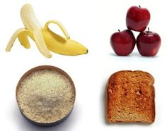 Bananas, applesauce, rice and toat.  Commonly known as the B.R.A.T. diet these foods are binding and very effective in treating diarrhea in kids and adults.