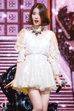 Lee Ji Eun - IU Stage Outfits, Kpop Outfits, Girly Outfits, Dress Outfits, Iu Fashion, Korean Fashion, Fashion Dresses, Fashion Looks, Kpop Girl Groups
