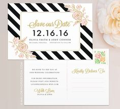 Floral Stripes Save the Date Postcard / by MalloryHopeDesign