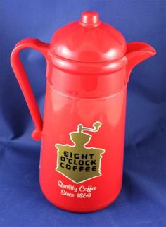 Vintage-Eight-OClock-Coffee-Red-Plastic-Coffee-Thermos-Carafe-11-Tall
