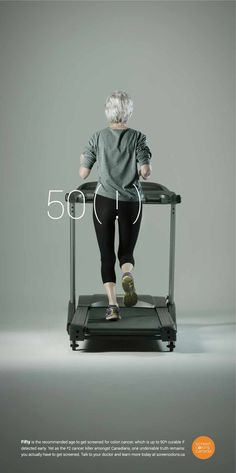 Fifty is the recommended age to get screened for colon cancer, 90% curable if detected early but you actually have to get screened for that to happen! Screen Colons Canada: Gym