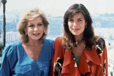 Princess Caroline of Monaco with American broadcast journalist Barbara Walters.1985.