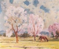 '' Almond trees '' Oil on Canvas   49.6 x 59.8 cm.   by Hector Doukas (Greek, 1885–1969)