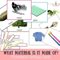 What material is it made of? Montessori Sorting CardsThese cards will help children to learn basic materials and what things around us are made from them. The pack includes such materials as wood, metal, plastic, rubber, glass, stone, fabric, clay and leather.