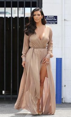 Kim Kardashian nude maxi dress.