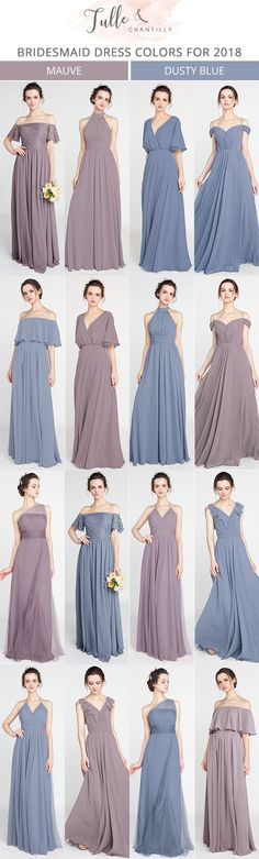 mauve and dusty blue bridesmaid dresses for 2018 #bridalparty #wedding #bridesmaiddresses