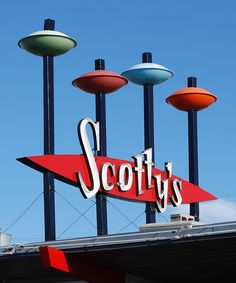 Googie/Atomic Age/Space Age influence -- Scotty's Hamburgers sign in Idaho Falls, Idaho