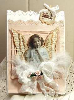 Angelic Card...with layered paper wings & feathers.