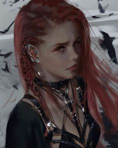 f Druid Robes portrait female Flock of Bird companions lg Anime Fantasy, Fantasy Girl, Dark Fantasy, Digital Art Girl, Digital Portrait, Character Portraits, Character Art, Anime Art Girl, Art Plastique
