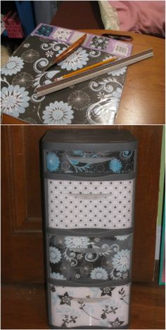 70 Trendy ideas for craft paper storage ideas plastic drawers Decorate Plastic Drawers, Plastic Storage Drawers, Plastic Organizer, Plastic Container Storage, Diy Drawers, Storage Bins, Storage Ideas, Food Storage, Makeup Storage