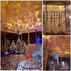 Gorgeous all while balloon ceiling with balloon entrance drapes all done inside an outdoor tent for a 50th Birthday Party. #PartyWithBalloons