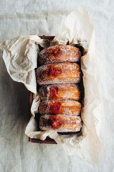 grayskymorning: Strawberry + Rhubarb Doughnuts