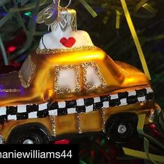 Loving this close up of our Little NY Taxi 🚖 😀 it's looking great! Bauble, Taxi, Christmas Tree Ornaments, Looks Great, Festive, Nyc, Holiday Decor, Instagram Posts, Christmas Tree Toppers