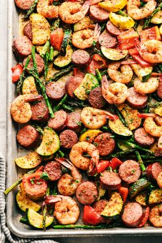 Cajun Shrimp and Sausage Vegetable Sheet Pan is so incredibly easy but packed with such amazing cajun flavor! food recipes dinners meals Cajun Shrimp and Sausage Vegetable Sheet Pan One Pan Meals, Easy Meals, One Pan Meal Prep, Seafood Recipes, Cooking Recipes, Sausage And Shrimp Recipes, Healthy Sausage Recipes, Healthy Shrimp Recipes, Keto Recipes