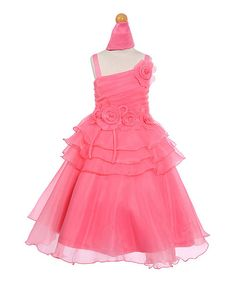 Look at this Coral Floral Asymmetrical Dress - Toddler & Girls on #zulily today!
