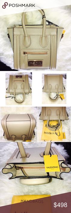 """💞VALENTINO convertible Crossbody Satchel NWT💯‼ It is a bag to brag! One of finest Mario Valentino's and it reminds very much of Celine Nano micro luggage bag - Sold out in stores-Italian in this color -Leather, elegant and flirty bag! Sized perfectly, not too big nor too small! original brand tags attached and dust bag  *  Plated hardware, adjustable shoulder strap, suede interior zip pocket, zip top closure w/ dust bag *  7 1/2"""" L x 8"""" H x 5 1/4"""" W - Made in Italy Valentino Bags"""