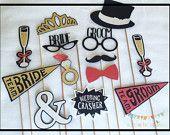 Wedding Photo Booth Props, Wedding Photo Props, Bride Photo Props, Groom Photo Props, Glitter Photo Props, Wedding Party Photo Props